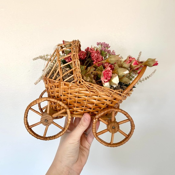 Vintage Boho Floral Wicker Baby Carriage